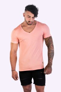 JJ Malibu Hidden Gem Rose Quartz V Neck Short Sleeved T Shir...