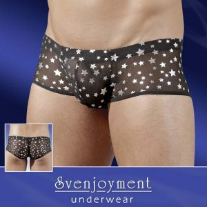 Svenjoyment Stars Sheer Boxer Brief Underwear Black 2130335