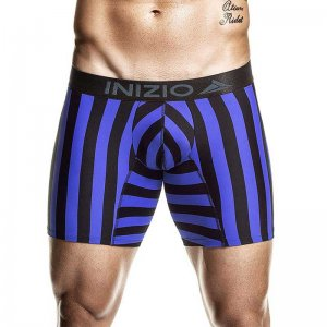 Inizio Unitel Stripe Microfibre Long Boxer Brief Underwear B...