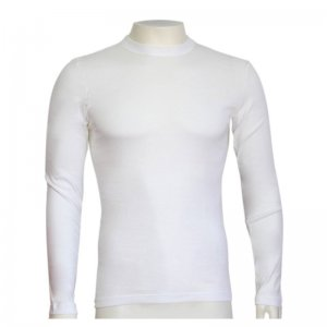 Minerva Classic Crew Neck 1X1 Rib Long Sleeved T Shirt White 18101