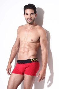 WO Underwear Solid Boxer Brief Underwear Red