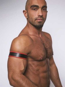 Mister B Leather Biceps Armbands Black/Red 431404