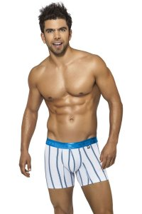 Xtremen Stripe Microfiber Boxer Brief Underwear White 51312