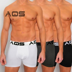 AQS [3 pack] Cyclist Trunk Boxer Underwear Black/Grey/White ...