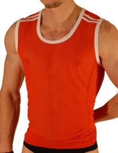 Don Moris Shoulder Stripes Piping Muscle Top T Shirt Red DM041223