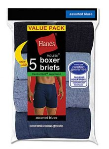 Hanes [5 Pack] Tagless Boxer Brief Underwear Blues V-7420Z5