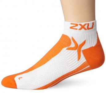 2XU Peformance Low Rise Socks White/Blazing Orange MQ1903E