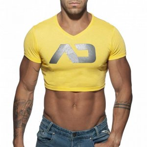 Addicted AD Crop Top Short Sleeved T Shirt Yellow AD819