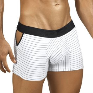 PPU Stripe & Side Cuts Boxer Brief Underwear White 1005