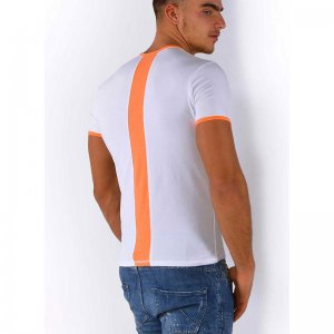 Roberto Lucca Slim Fit Back Stripe Short Sleeved T Shirt White/Neon Orange 80217-81010