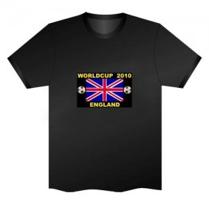 LED Electro Luminescence Union Jack With Letters Funny Gadgets Rave Party Disco Light T Shirt Black 31775