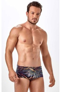 New Beach Patterned Brazilian Sunga Lycra Sublimacao Square Cut Trunk Swimwear
