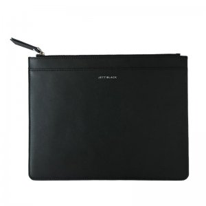 Jett Black Large Leather Pouch Wallet Black