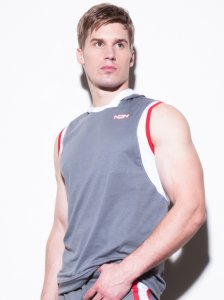 N2N Bodywear Trainer 2.0 Hoodie Muscle Top T Shirt Grey UN39