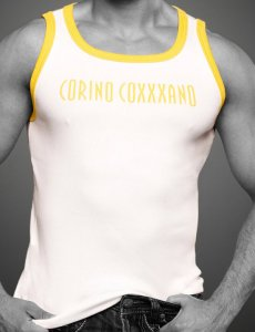 Coxxxano Sporty Piping Logo Tank Top T Shirt White/Yellow 40...