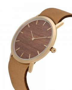 Analog Watch Classic Makore Wood Dial & Tan Strap Watch GT-C...