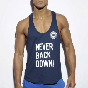 ES Collection Never Back Down Tank Top T Shirt Navy TS169