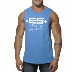 ES Collection Barcelona Low Rider Tank Top T Shirt Surf Blue TS067