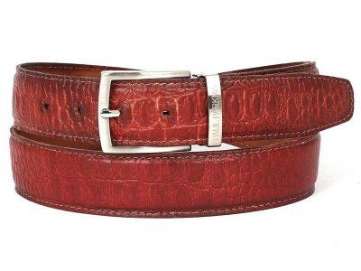 Paul Parkman Crocodile Embossed Calfskin Belt Reddish B02-RD...