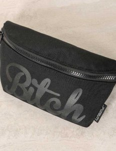 Fydelity Bitch Werds Ultra Slim Fanny Pack Bag Black 83024