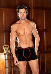 iCollection Bamboo Contrast Trim Boxer Brief Underwear Black 8810