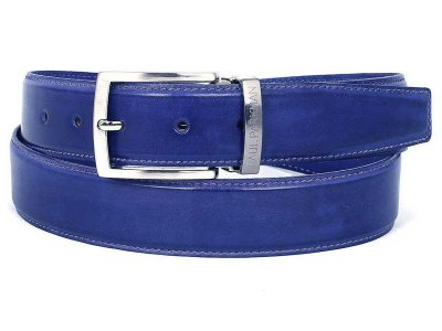 Paul Parkman Hand Painted Leather Belt Cobalt Blue B01-BLU