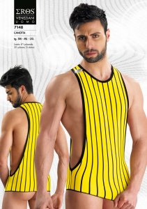 Eros Veneziani Stripe Large Arm Hole Tank Top T Shirt Yellow 7148