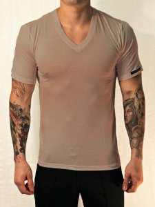 Whittall & Shon Viscose V Neck Short Sleeved T Shirt Taupe 307