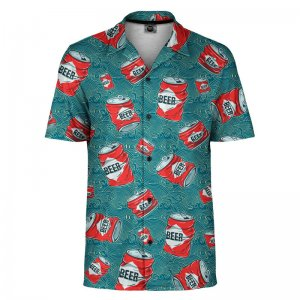 Mr. Gugu & Miss Go Beer Pattern Short Sleeved Shirt SH-SHT1491