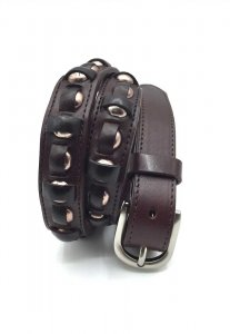 Spy Henry Lau Studs Leather Belt Brown SP788AC91OBKHK