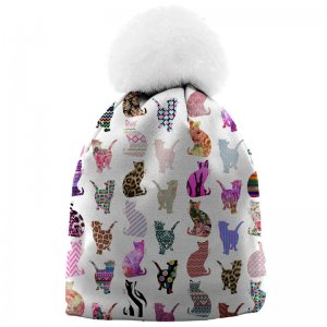 Mr. Gugu & Miss Go Comic Cat Pattern Unisex Pom-Pom Beanie W...