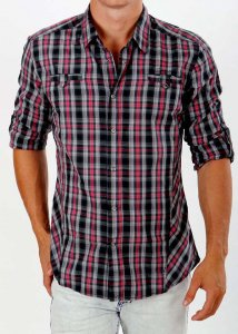 Deacon Ground Check Long Sleeved Shirt Red/Grey