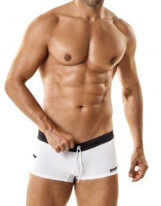 WildmanT C-Ring With Semi Sheer Mesh Square Cut Trunk Swimwear White WT-62M