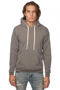 Royal Apparel Unisex Organic RPET Fleece Pullover Hoody Long Sleeved Sweater Heather Ash 96055