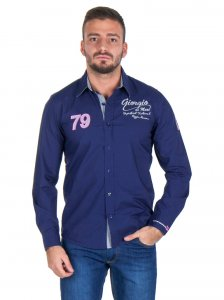 Giorgio Di Mare Worked Long Sleeved Shirt Navy GI9027811