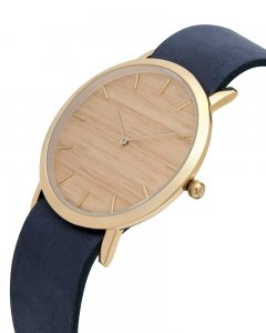 Analog Watch Classic Silverheart Wood Dial & Navy Strap Watc...