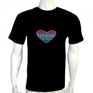 LED Electro Luminescence Big Heart Funny Gadgets Rave Party Disco Light T Shirt 12026