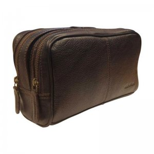 Asdrumark Compact Leather Wash Bag Dark Brown AM050