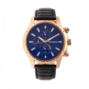 Breed Lacroix Chronograph Leather-Band Watch - Rose Gold/Dar...