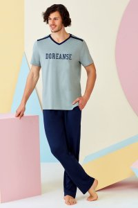 Doreanse Logo V Neck Short Sleeved T Shirt & Pants Set Loung...