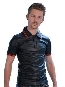 Mister B Leather Stripe Polo Short Sleeved Shirt Red 161230