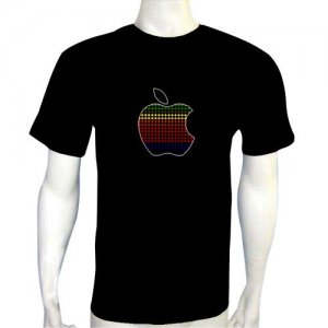 LED Electro Luminescence Apple Funny Gadgets Rave Party Disco Light T Shirt 12063