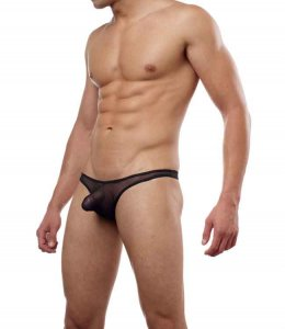 Cover Male Pouch Enhancing Thong Underwear Sheer Black 202