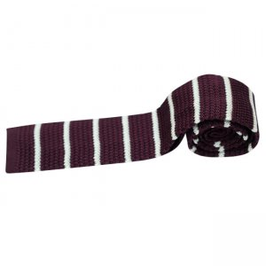 Charles Owo Striped Knitted Tie Burgundy 1341871