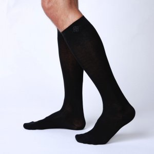 Bonne Cle Black & White High Knee Socks Black