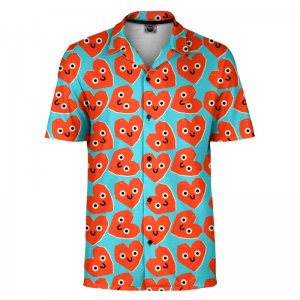 Mr. Gugu & Miss Go Cute Hearts Short Sleeved Shirt SH-SHT1484