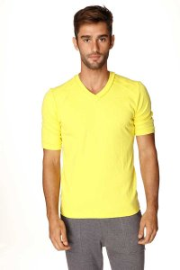 4-rth Hybrid V Neck Short Sleeved T Shirt Tropic Yellow