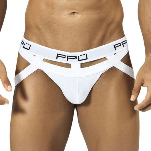 PPU Multistrap Back Ring Cut Out Jock Strap Underwear White 1305