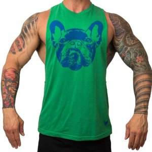 Bullywear Dog Face Large Armholes Muscle Top T Shirt Green DHSFALLG