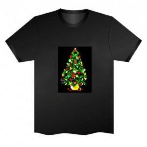 LED Electro Luminescence Christmas Tree Funny Gadgets Rave Party Disco Light T Shirt 13289